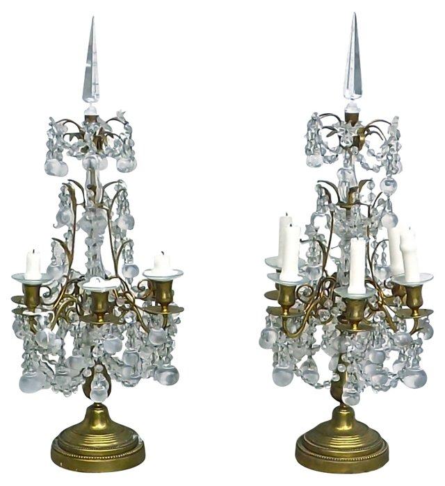 Antique Crystal Girandoles, Pair