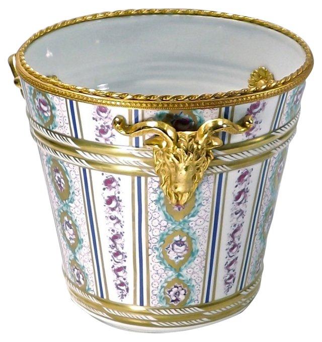 Antique Porcelain & Brass Cachepot