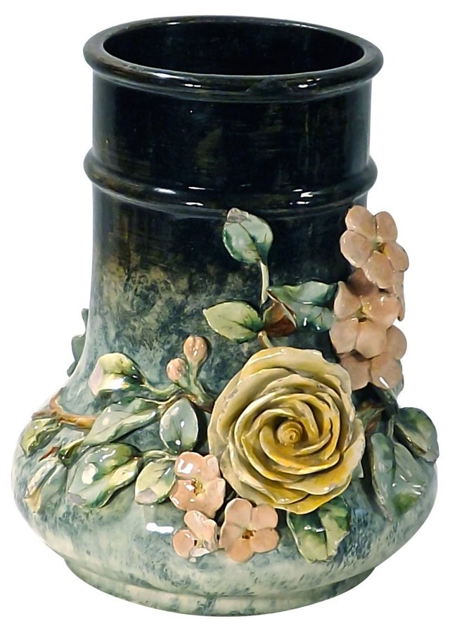 French Antique  Rose Majolica Vase