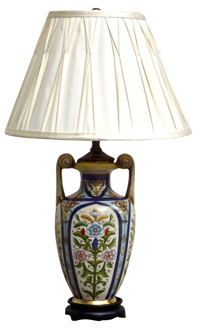 Porcelain Floral Urn-Style Lamp