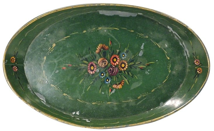 Antique Hand-Painted  Tole Tray
