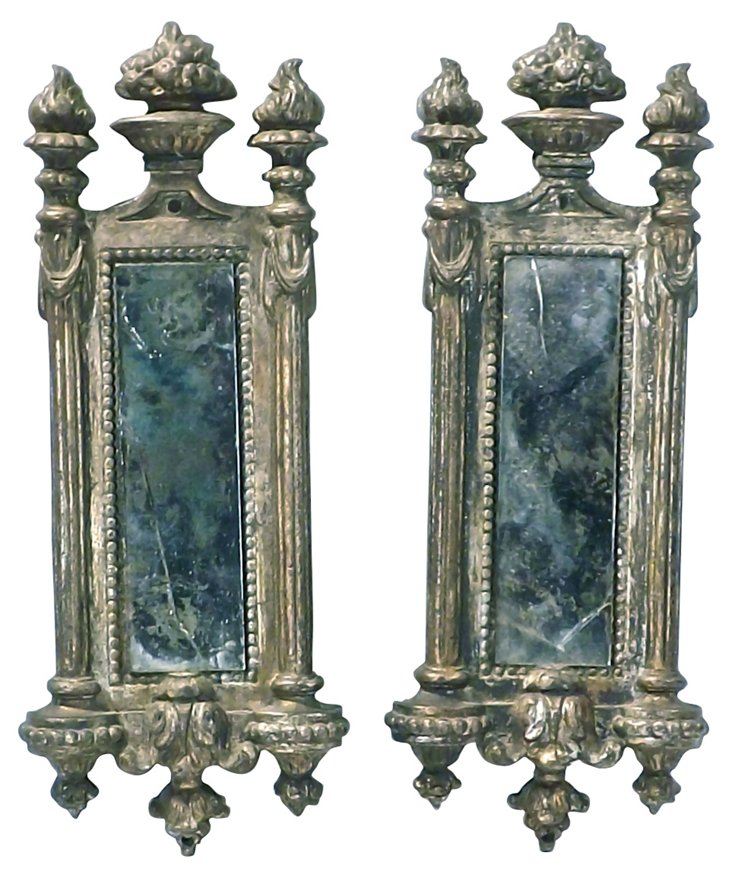 Antique Cast Iron Torch Mirrors, Pair