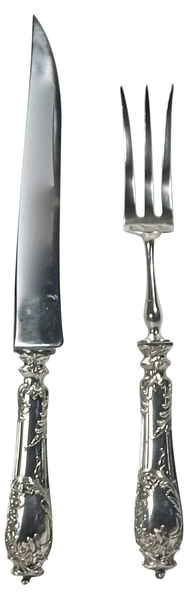 Antique French Silver Carving Set, 2 Pcs