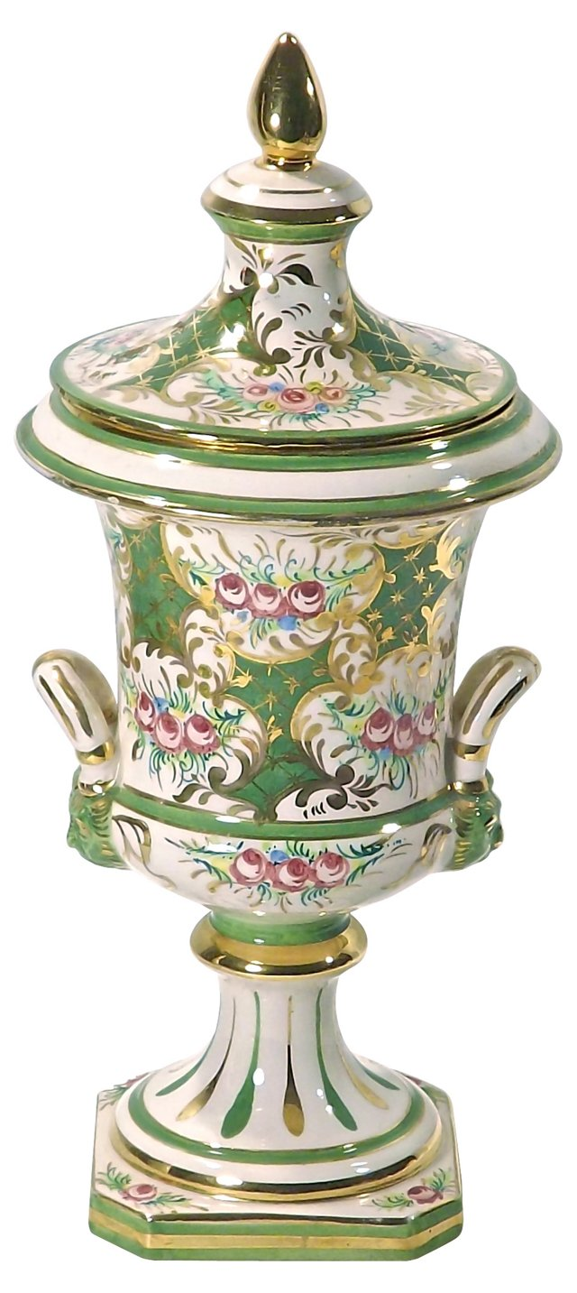 Antique Italian Porcelain Lidded  Urn