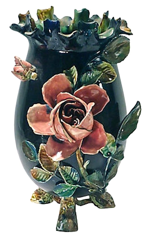 Antique  French Majolica Rose Vase