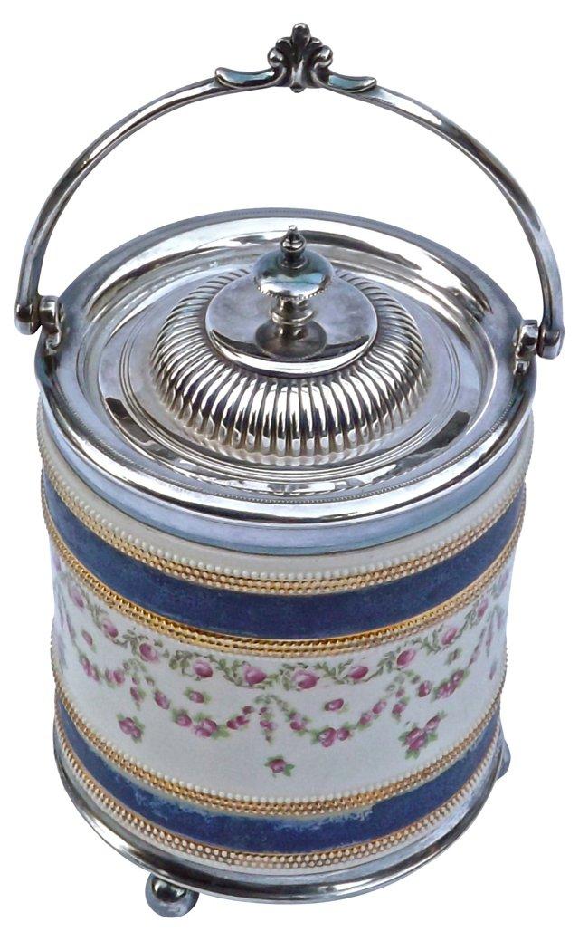 English Ceramic & Silver Biscuit Jar