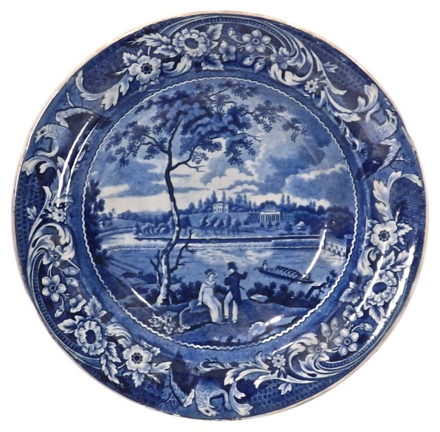Antique River Scene Ceramic Bowl