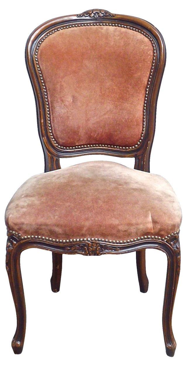 Antique French Velvet Side Chair