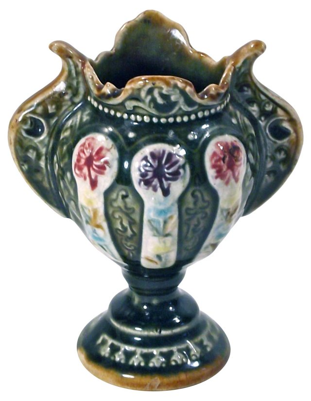 Antique Floral Majolica Vase