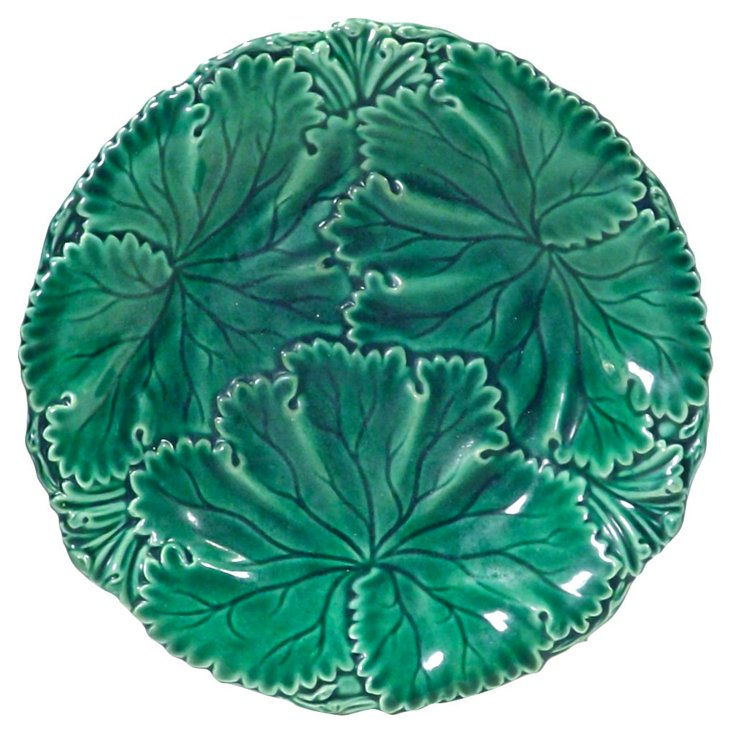 Antique Majolica Green Leaf Plate