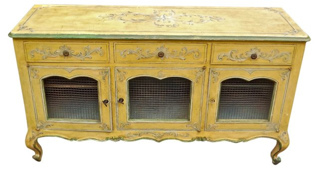 Antique Hand-Painted French Sideboard