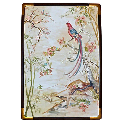 Signed Lakides Chinoiserie Bird Painting