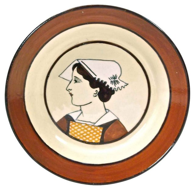Antique French Quimper Maiden Plate