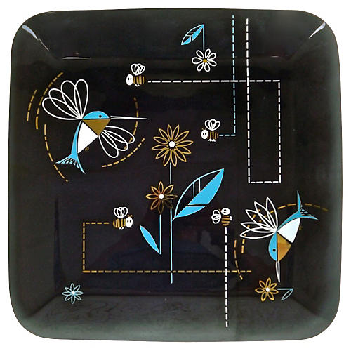 Mid-Century Modern Glass Bird Tray