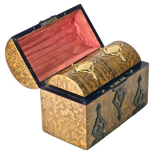 Gothic Burl Wood & Brass Tea Caddy