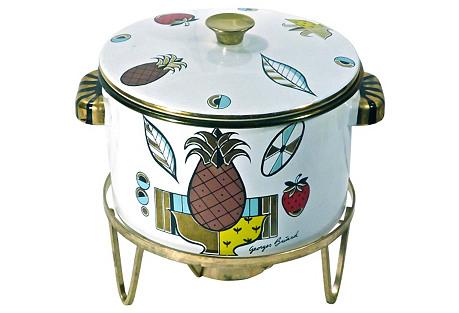 Midcentury Enamel Modern Dish Warmer