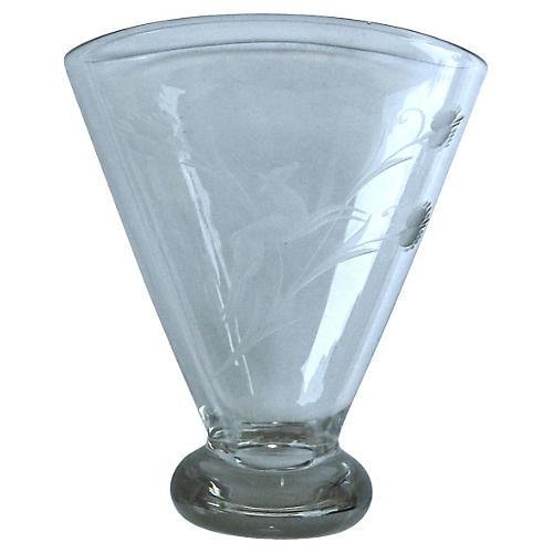 Art Deco Leaping Gazelle Glass Vase
