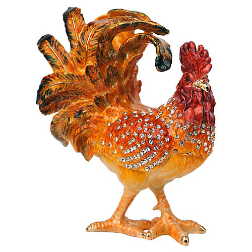Keren Kopal Rooster Trinket Box