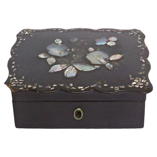 Antique Abalone Floral Papier-Mâché Box