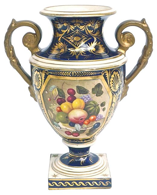 Ornate hand-painted urns are among Royal Crown Derby'sclaims to fame.