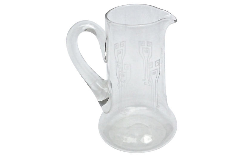 Art Deco Etched Glass Pitcher