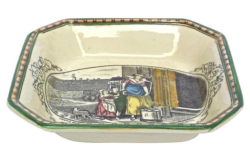 English Milk Maiden Transferware Dish