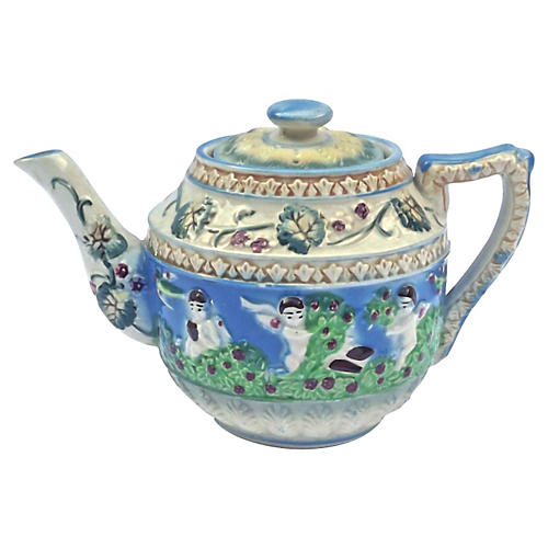 Japanese Floral & Cherub Teapot