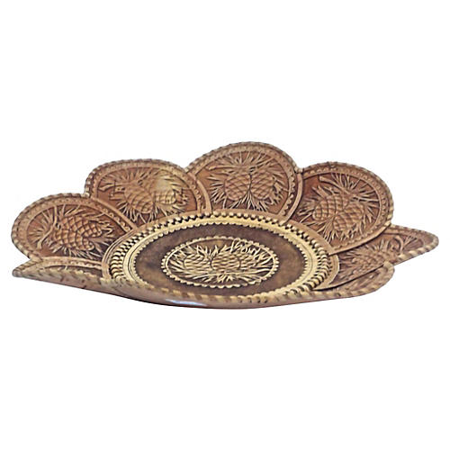 Embossed Pinecone Leather Petal Bowl