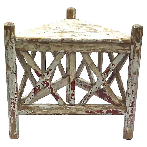 Antique Provençal Painted Corner Table