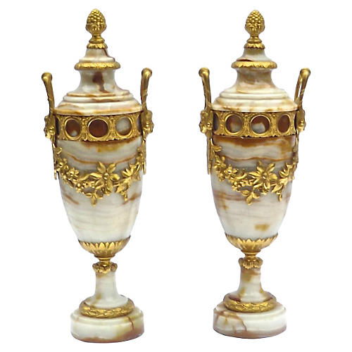 Antique Marble & Gilt Urns, S/2