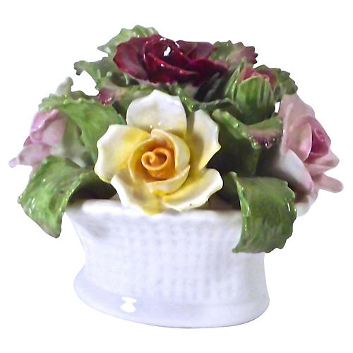 English Porcelain Rose Basket Figure
