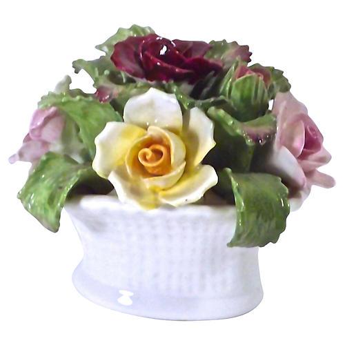 English Porcelain Rose Basket Figure