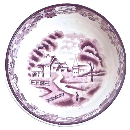 Antique English Village Scene Bowl