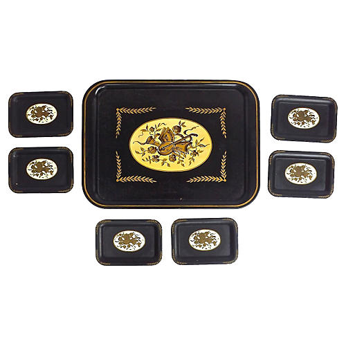 Tole Musical Theme Trays, S/7