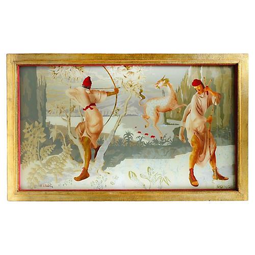 French Art Deco Verre Eglomisé Painting