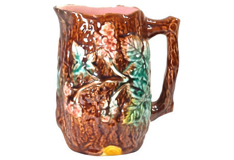 Antique Blackberry Vine Majolica Pitcher