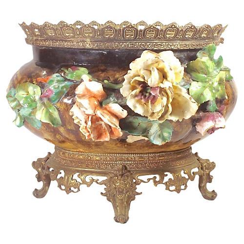Antique French Majolica Jardiniere