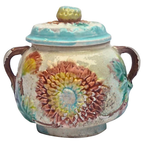 Antique Majolica Dahlia Lidded Bowl