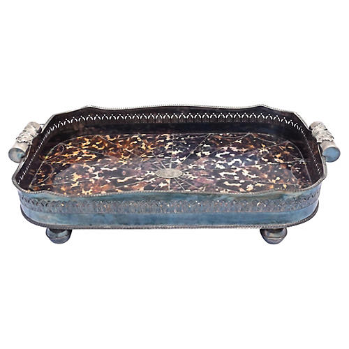 Silver & Faux-Tortoise Serving Tray