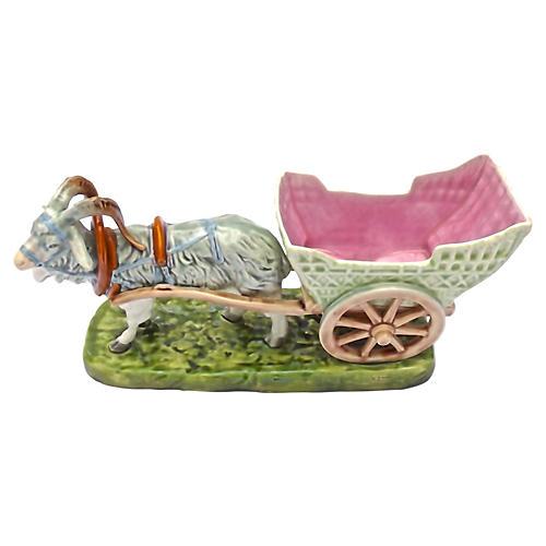 Majolica Royal Dux Goat & Cart Cachepot