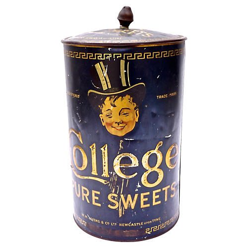 College Pure Sweets Round Tole Tin