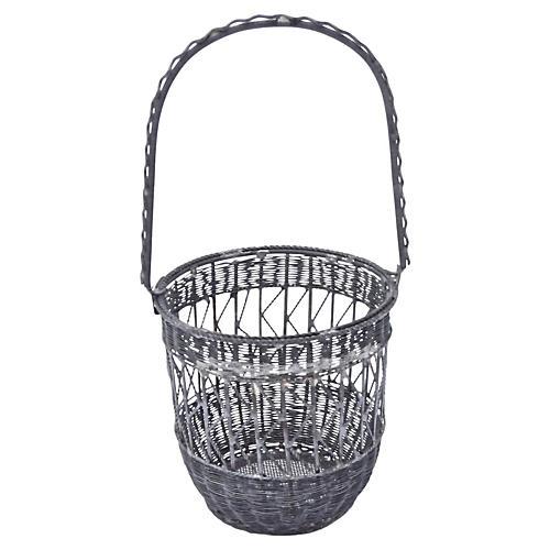 Antique Wire Basket Cachepot