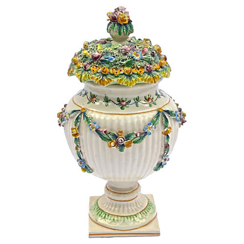 Antique Italian Floral & Fruit Urn