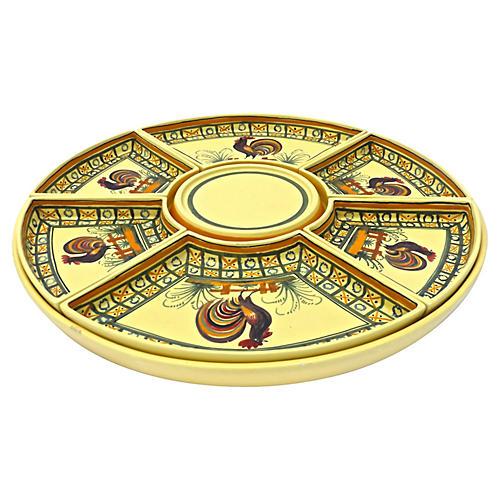 Large Antique Quimper Rooster Platter