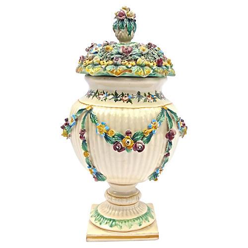 Antique Italian Floral/Fruit Lidded Urn
