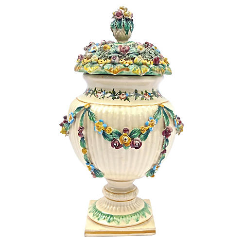 Antique Italian Floral/Fruit Lidded Urn