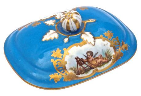 Antique Porcelain Sevres Cherub Dish Lid