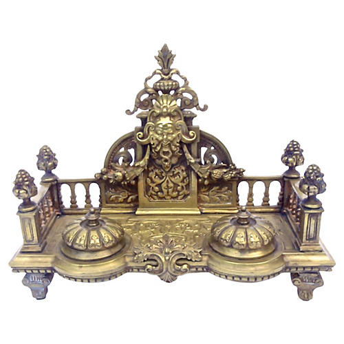 Brass Renaissance Revival Double Inkwell