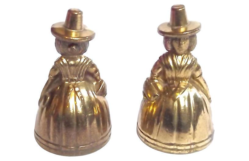 Maiden Figurine Brass Bells, Pair