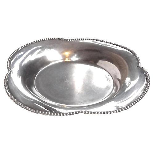 Antique Quatrefoil Metal Dish